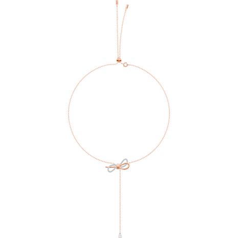 Lifelong Bow Y-Kolye, Beyaz, Karışık metal bitiş - Swarovski, 5447082