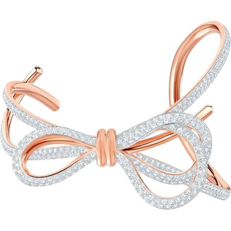 Manchette Lifelong Bow, blanc, Finition mix de métal - Swarovski, 5447088