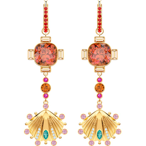 Lucky Goddess Shell 穿孔耳環, 多色設計, 鍍金色色調 - Swarovski, 5451301