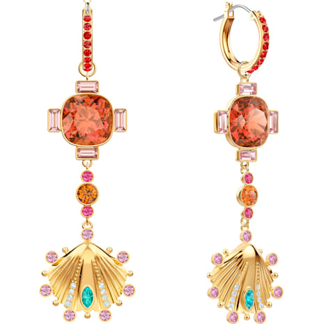 Lucky Goddess Shell Pierced Earrings, Multi-colored, Gold-tone plated - Swarovski, 5451301