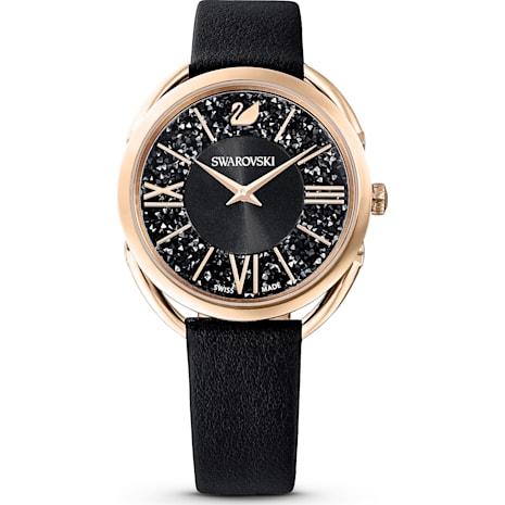 Crystalline Glam 手錶, 真皮錶帶, 黑色, 玫瑰金色調PVD - Swarovski, 5452452