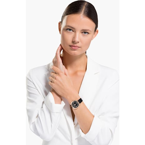 Crystalline Glam Uhr, Lederarmband, schwarz, Rosé vergoldetes PVD-Finish - Swarovski, 5452452