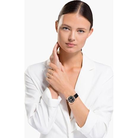 Montre Crystalline Glam, Bracelet en cuir, noir, PVD doré rose - Swarovski, 5452452