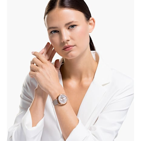 Crystalline Glam 手錶, 真皮錶帶, 灰色, 玫瑰金色調PVD - Swarovski, 5452455