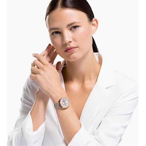 Crystalline Glam Saat, Deri kayış, Gri, Pembe altın rengi PVD - Swarovski, 5452455