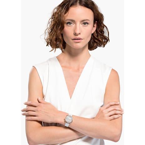 Montre Crystalline Glam, Bracelet en cuir, blanc, PVD doré rose - Swarovski, 5452459