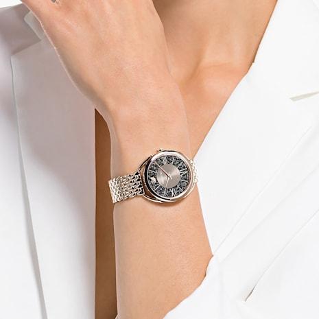 Orologio Crystalline Glam, Bracciale di metallo, grigio, PVD tonalità oro champagne - Swarovski, 5452462