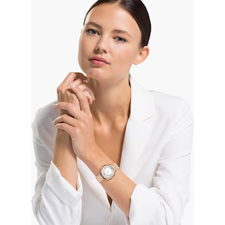 Crystalline Glam Watch, Metal bracelet, White, Rose-gold tone PVD - Swarovski, 5452465