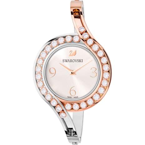 Lovely Crystals Bangle Saat, Metal bileklik, Beyaz, İki renkli PVD - Swarovski, 5452486