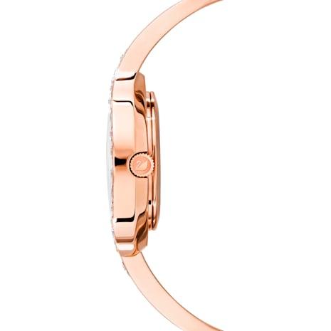 Lovely Crystals Bangle Saat, Metal bileklik, Beyaz, Pembe altın rengi PVD - Swarovski, 5452489
