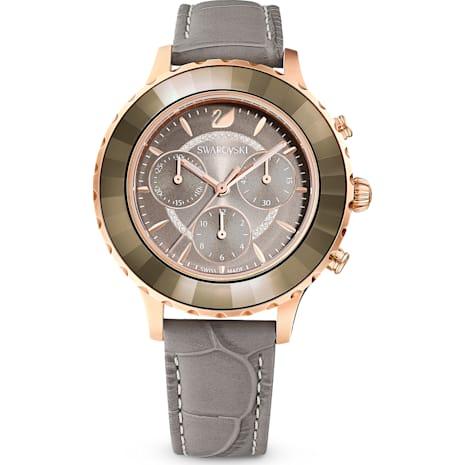 Orologio Octea Lux Chrono, Cinturino in pelle, grigio, PVD oro rosa - Swarovski, 5452495