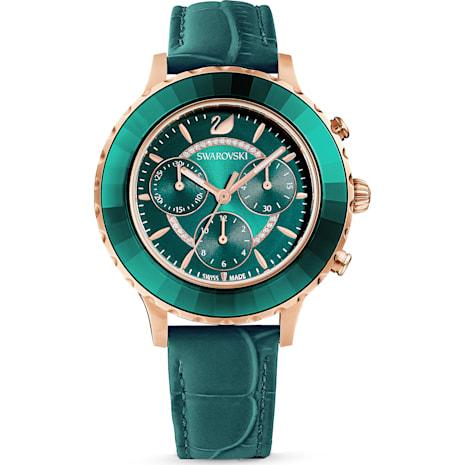 Reloj Octea Lux Chrono, Correa de piel, verde, PVD en tono Oro Rosa - Swarovski, 5452498