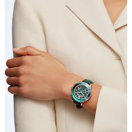 Octea Lux Chrono Watch, Leather Strap, Green, Rose-gold tone PVD - Swarovski, 5452498