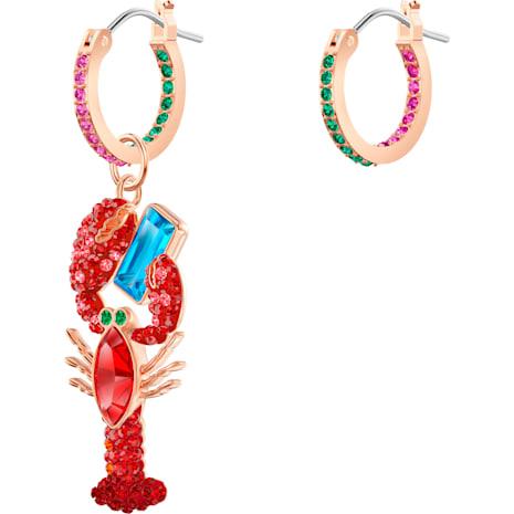 Ocean Lobster Pierced Earrings, Multi-coloured, Rose-gold tone plated - Swarovski, 5452555