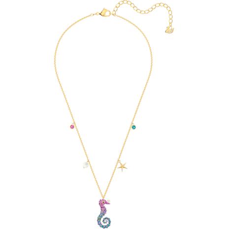 Ocean Seahorse Kolye Ucu, Cok Renkli, Altın rengi kaplama - Swarovski, 5452562