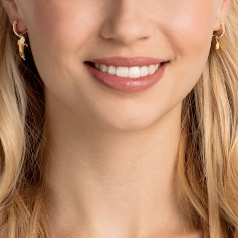 No Regrets Banana Pierced Earrings, Multi-colored, Gold-tone plated - Swarovski, 5453571