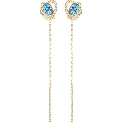 Outstanding Pierced Earring Jackets, Aqua, Gold-tone plated - Swarovski, 5455034