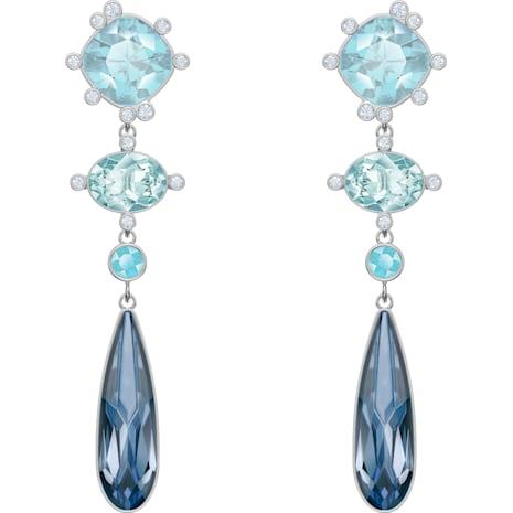 Olive Pierced Earrings, Multi-coloured, Rhodium plated - Swarovski, 5456892
