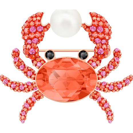 Ocean Crab Broş, Cok Renkli, Pembe altın rengi kaplama - Swarovski, 5457571