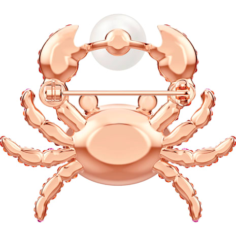 Ocean Crab Brooch, Multi-coloured, Rose-gold tone plated - Swarovski, 5457571