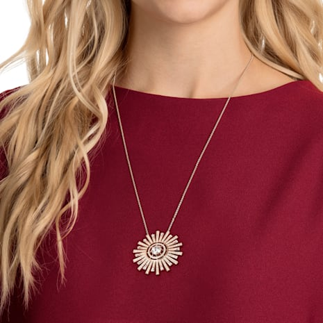 Sunshine Necklace, White, Rose-gold tone plated - Swarovski, 5459593