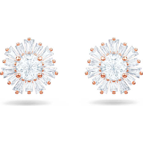 Sunshine 穿孔耳環, 白色, 鍍玫瑰金色調 - Swarovski, 5459597