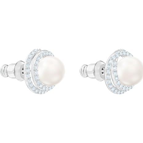 Boucles d'oreilles Originally, blanc, Métal rhodié - Swarovski, 5461087