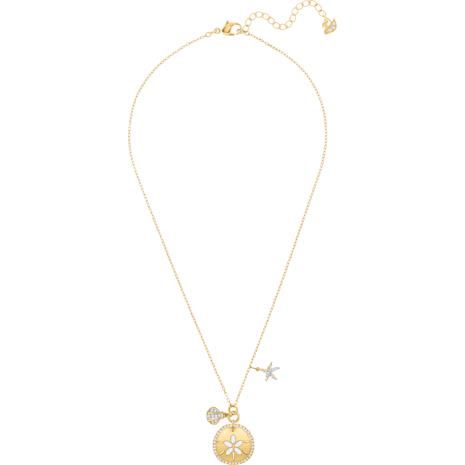 Collar Ocean Sand Coin, blanco, Baño en tono Oro - Swarovski, 5462580