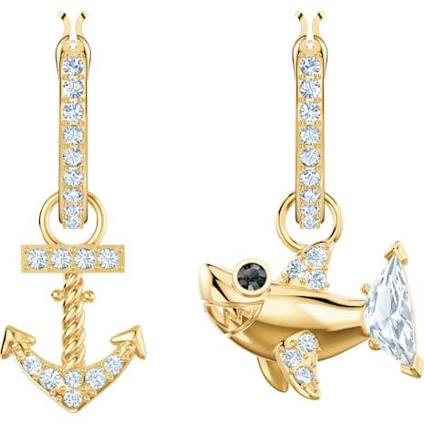 Ocean Shark 穿孔耳環, 白色, 鍍金色色調 - Swarovski, 5463738