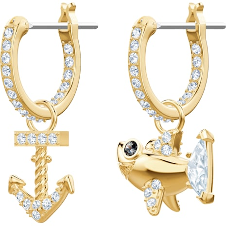 Ocean Shark Pierced Earrings, White, Gold-tone plated - Swarovski, 5463738