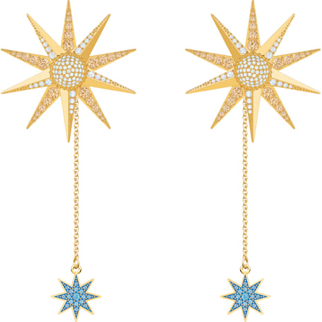 Lucky Goddess Pierced Earrings, Multi-colored, Gold-tone plated - Swarovski, 5464169