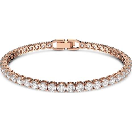 Bracelet Tennis, blanc, Métal doré rose - Swarovski, 5464948