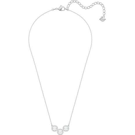 Swarovski Sparkling Dance Trilogy Necklace, White, Rhodium plated - Swarovski, 5465275