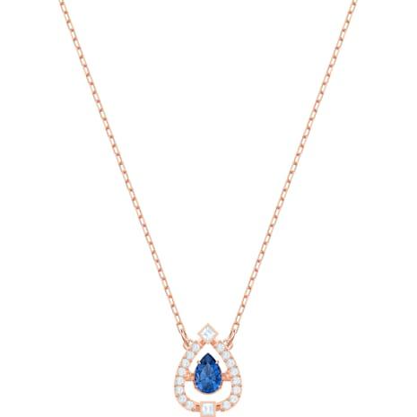 Swarovski Sparkling Dance Pear Halskette, blau, Rosé vergoldet - Swarovski, 5465281