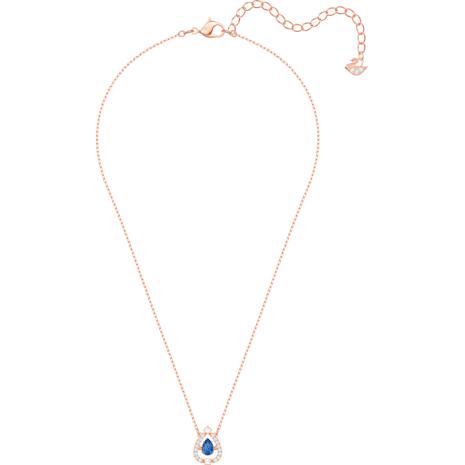Swarovski Sparkling Dance Pear Kolye, Mavi, Pembe altın rengi kaplama - Swarovski, 5465281