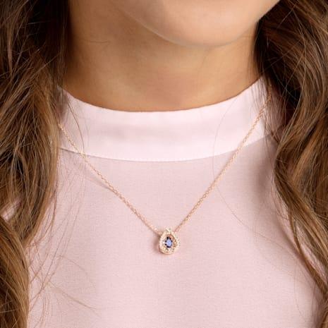 Swarovski Sparkling Dance Pear Necklace, Blue, Rose-gold tone plated - Swarovski, 5465281