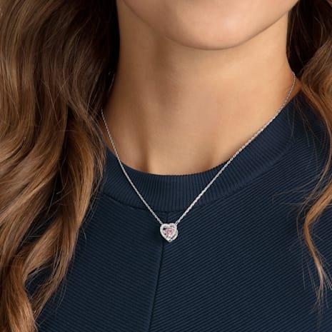 Swarovski Sparkling Dance Heart Necklace, Pink, Rhodium plated - Swarovski, 5465284