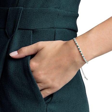 Subtle Bracelet, Green, Rhodium plated - Swarovski, 5465355