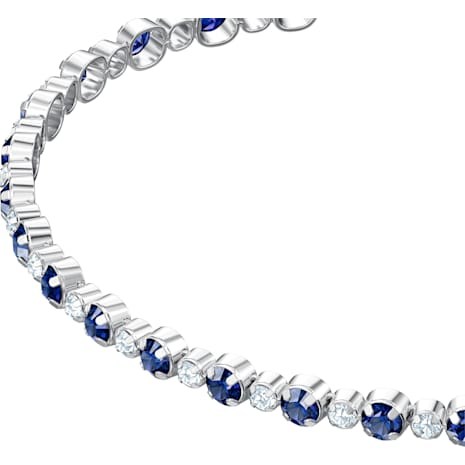 Pulsera Subtle, azul, Baño de Rodio - Swarovski, 5465383