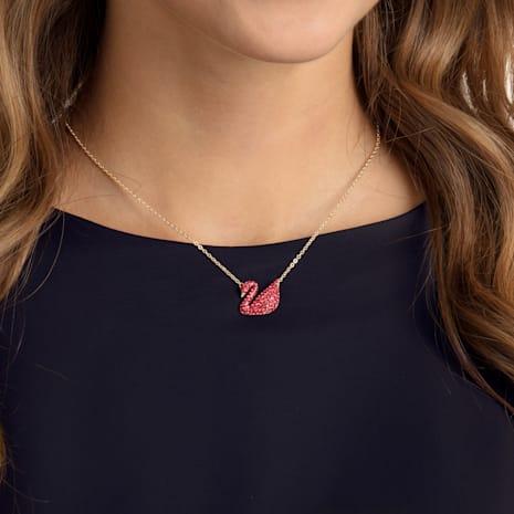 Pendente Iconic Swan, rosso, placcatura oro - Swarovski, 5465400