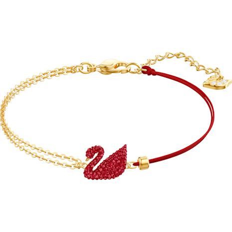 Braccialetto Iconic Swan, rosso, placcatura oro - Swarovski, 5465403