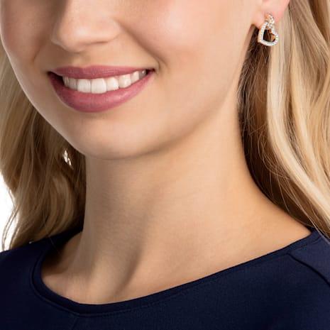 Lovely Pierced Earrings, White, Rose-gold tone plated - Swarovski, 5466720