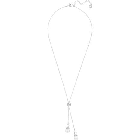 Collar en Y Originally, blanco, Baño de Rodio - Swarovski, 5467313