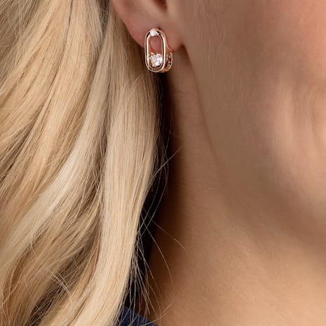 Sparkling Dance Pierced Earrings, White, Rose-gold tone plated - Swarovski, 5468118