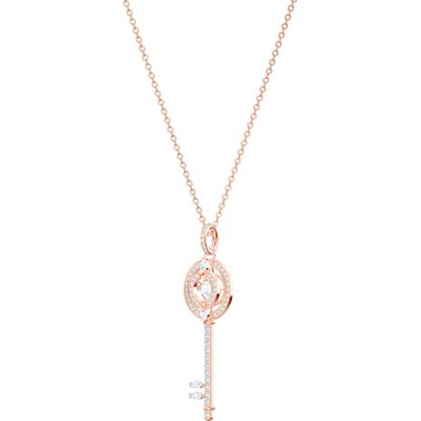 Colgante Swarovski Sparkling Dance Key, blanco, Baño en tono Oro Rosa - Swarovski, 5469120