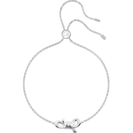 Lifelong Bow Bracelet, White, Rhodium plated - Swarovski, 5469983