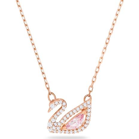 Dazzling Swan Kolye, Cok Renkli, Pembe altın rengi kaplama - Swarovski, 5469989