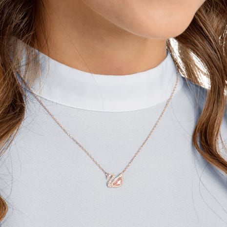 Dazzling Swan Halskette, mehrfarbig, Rosé vergoldet - Swarovski, 5469989