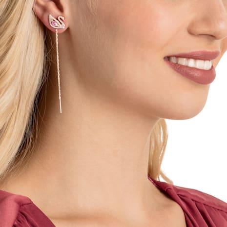 Boucles d'oreilles Dazzling Swan, multicolore, Métal doré rose - Swarovski, 5469990