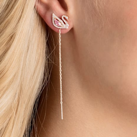 Dazzling Swan 穿孔耳環, 多色設計, 鍍玫瑰金色調 - Swarovski, 5469990